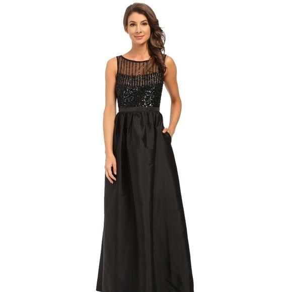 Adrianna Papell Dresses | Sale Black Taffeta Ball Gown | Poshmark